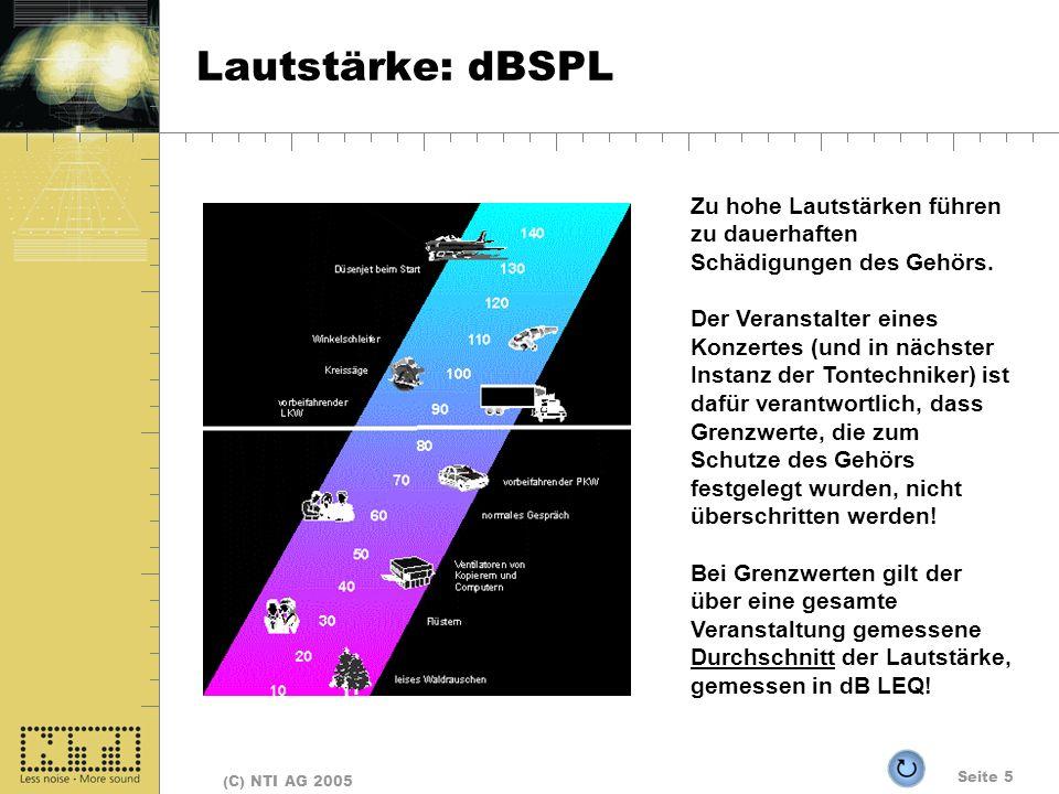 Seite 5 (C) NTI AG 2005 Lautstärke: dBSPL Zu hohe Lautstärken führen zu dauerhaften Schädigungen des Gehörs. Der Veranstalter eines Konzertes (und in