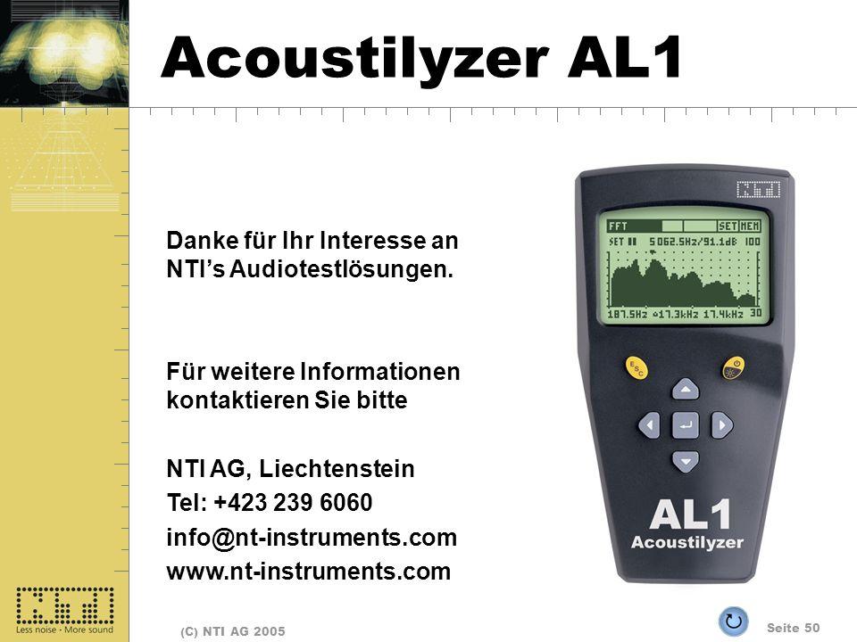 Seite 50 (C) NTI AG 2005 Fine Danke für Ihr Interesse an NTIs Audiotestlösungen. Für weitere Informationen kontaktieren Sie bitte NTI AG, Liechtenstei