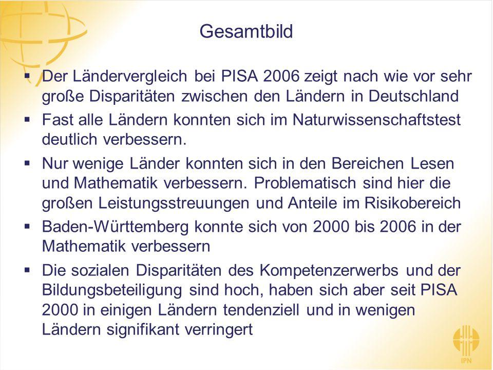 Gesamtbild Der Ländervergleich bei PISA 2006 zeigt nach wie vor sehr große Disparitäten zwischen den Ländern in Deutschland Fast alle Ländern konnten