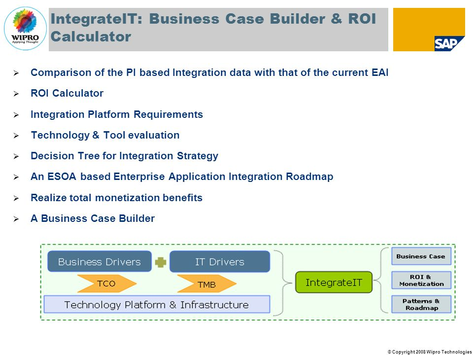 © Copyright 2008 Wipro Technologies IntegrateIT: Business Case Builder & ROI Calculator Comparison of the PI based Integration data with that of the current EAI ROI Calculator Integration Platform Requirements Technology & Tool evaluation Decision Tree for Integration Strategy An ESOA based Enterprise Application Integration Roadmap Realize total monetization benefits A Business Case Builder