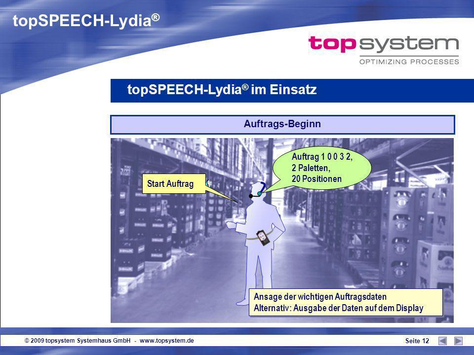 © 2009 topsystem Systemhaus GmbH - www.topsystem.de Seite 11 Guten Tag! topSPEECH-Lydia ® im Einsatz Anmeldung Voice-Login oder Anmeldung per Eingabe