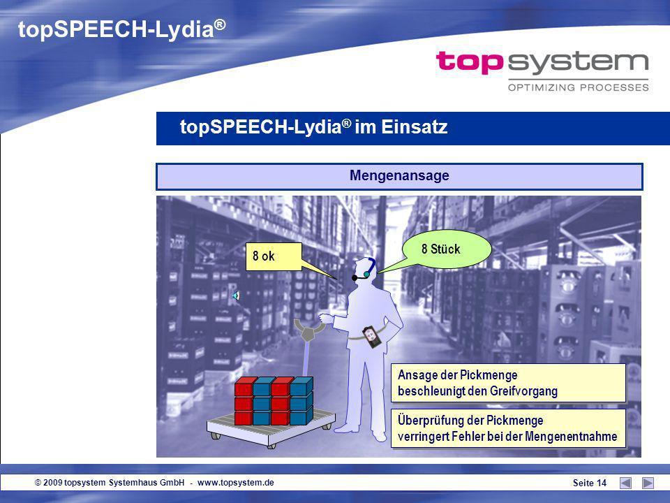 © 2009 topsystem Systemhaus GmbH - www.topsystem.de Seite 13 Ansage des Lagerplatzes topSPEECH-Lydia ® im Einsatz 37 ok Platz 123 Abfrage der Platzprü