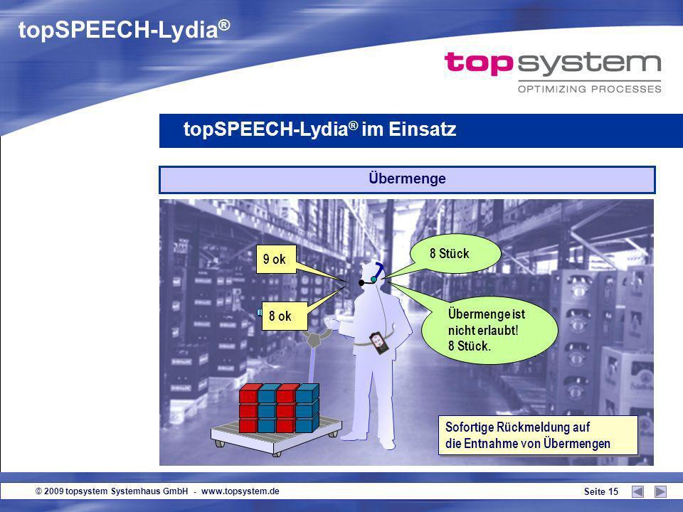© 2009 topsystem Systemhaus GmbH - www.topsystem.de Seite 14 8 ok 8 Stück Mengenansage topSPEECH-Lydia ® im Einsatz Überprüfung der Pickmenge verringe