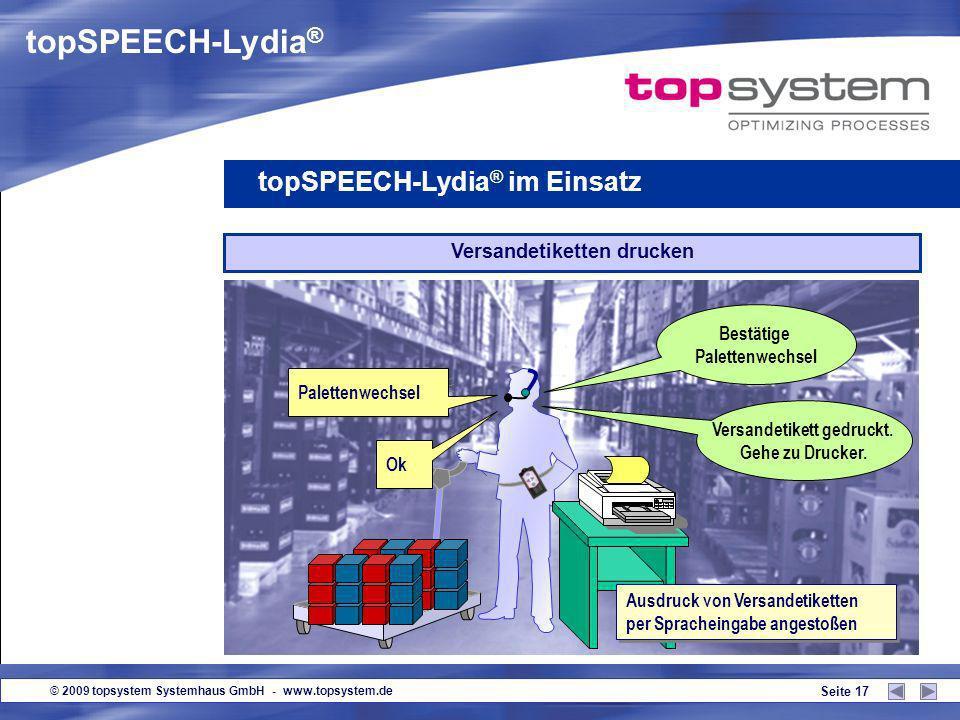 © 2009 topsystem Systemhaus GmbH - www.topsystem.de Seite 16 Untermenge topSPEECH-Lydia ® im Einsatz 7 ok Sofortige Rückmeldung auf die Entnahme von U
