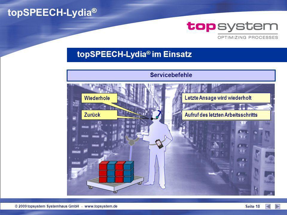 © 2009 topsystem Systemhaus GmbH - www.topsystem.de Seite 17 Versandetiketten drucken topSPEECH-Lydia ® im Einsatz Palettenwechsel Bestätige Palettenw