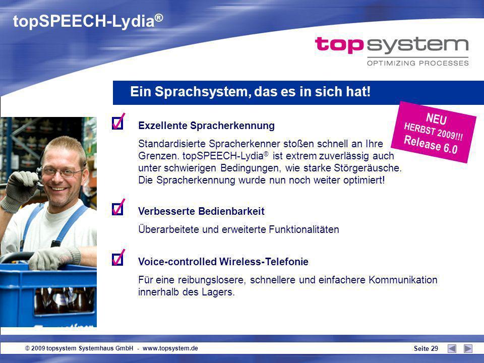 © 2009 topsystem Systemhaus GmbH - www.topsystem.de Seite 28 topSPEECH-Lydia ® Starter inkl. Updater Softwareupdates und Konfigurationseinstellungen w