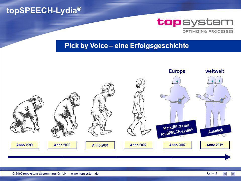 © 2009 topsystem Systemhaus GmbH - www.topsystem.de Seite 5 topSPEECH-Lydia ® Anno 1999Anno 2000 Anno 2001 Anno 2002Anno 2007 weltweit Ausblick Europa Marktführer mit topSPEECH-Lydia ® Pick by Voice – eine Erfolgsgeschichte Anno 2012