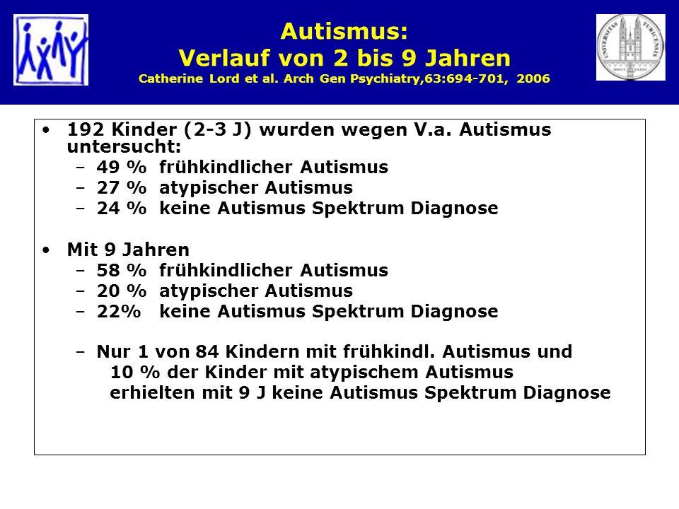 Autismus: Verlauf von 2 bis 9 Jahren Catherine Lord et al. Arch Gen Psychiatry,63:694-701, 2006 192 Kinder (2-3 J) wurden wegen V.a. Autismus untersuc