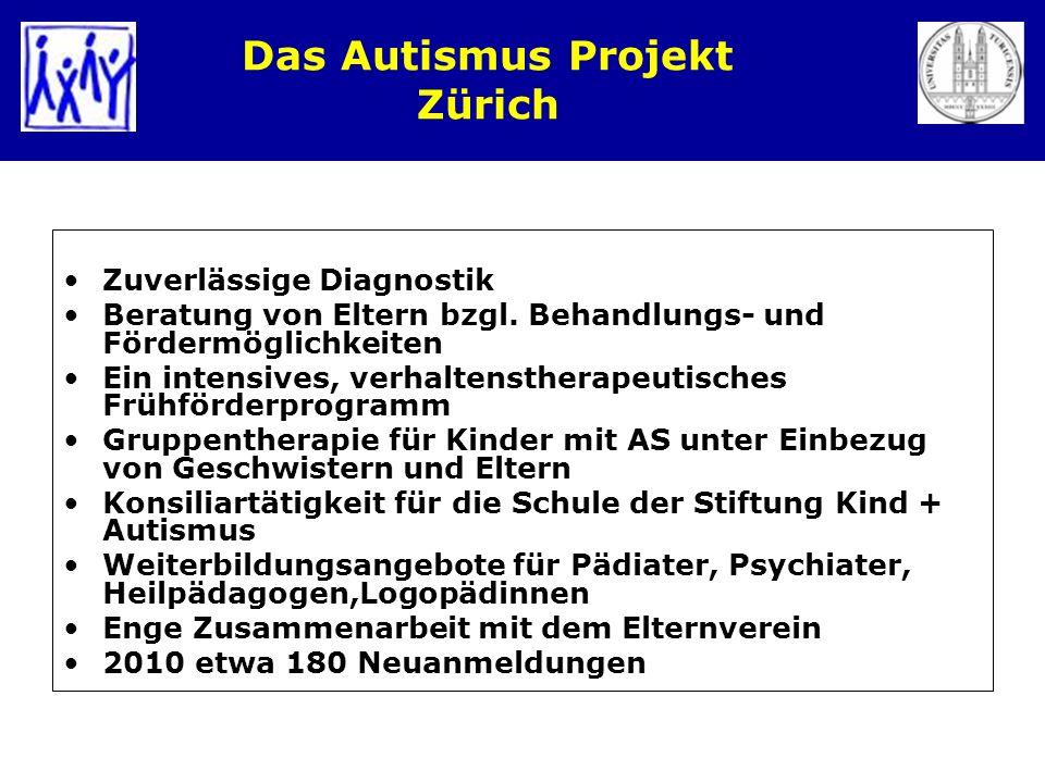 Das Autismus Projekt Zürich Zuverlässige Diagnostik Beratung von Eltern bzgl. Behandlungs- und Fördermöglichkeiten Ein intensives, verhaltenstherapeut