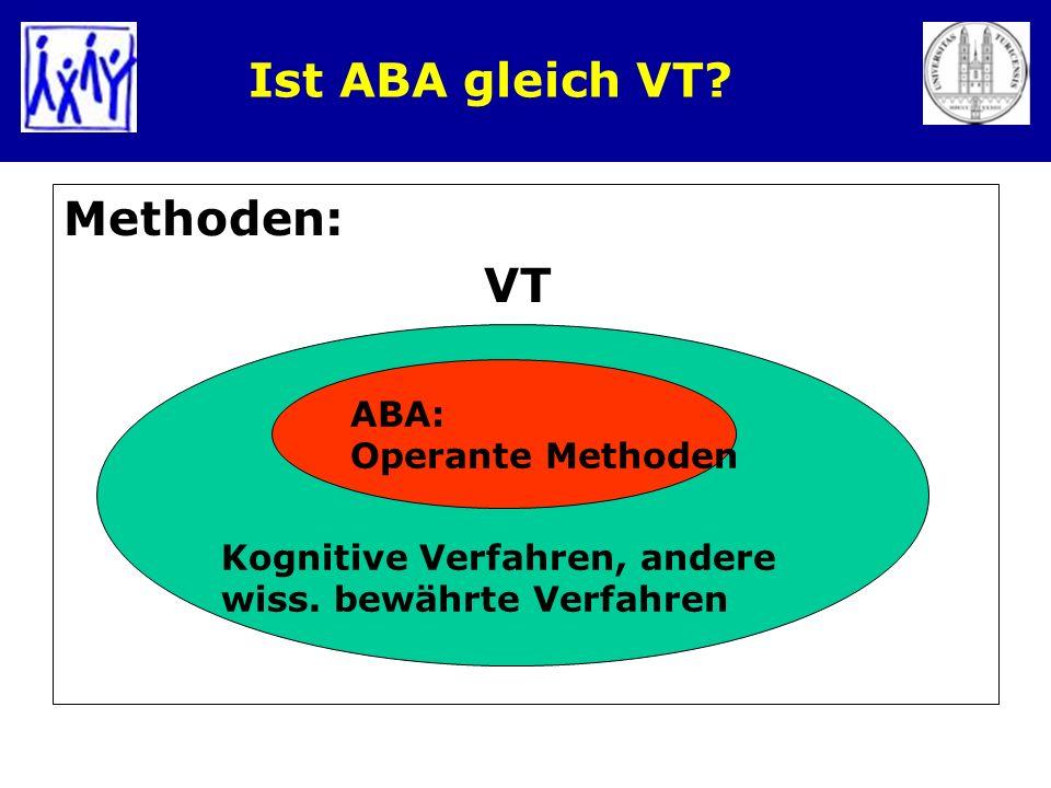 Ist ABA gleich VT? Methoden: VT ABA: Operante Methoden Kognitive Verfahren, andere wiss. bewährte Verfahren