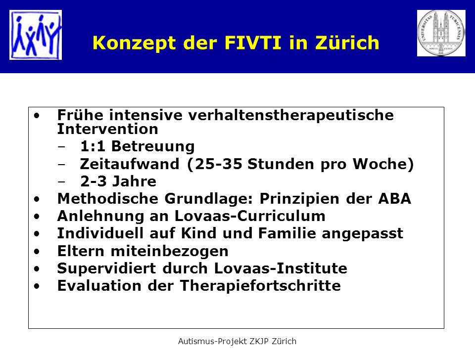 Konzept der FIVTI in Zürich Frühe intensive verhaltenstherapeutische Intervention –1:1 Betreuung –Zeitaufwand (25-35 Stunden pro Woche) –2-3 Jahre Met