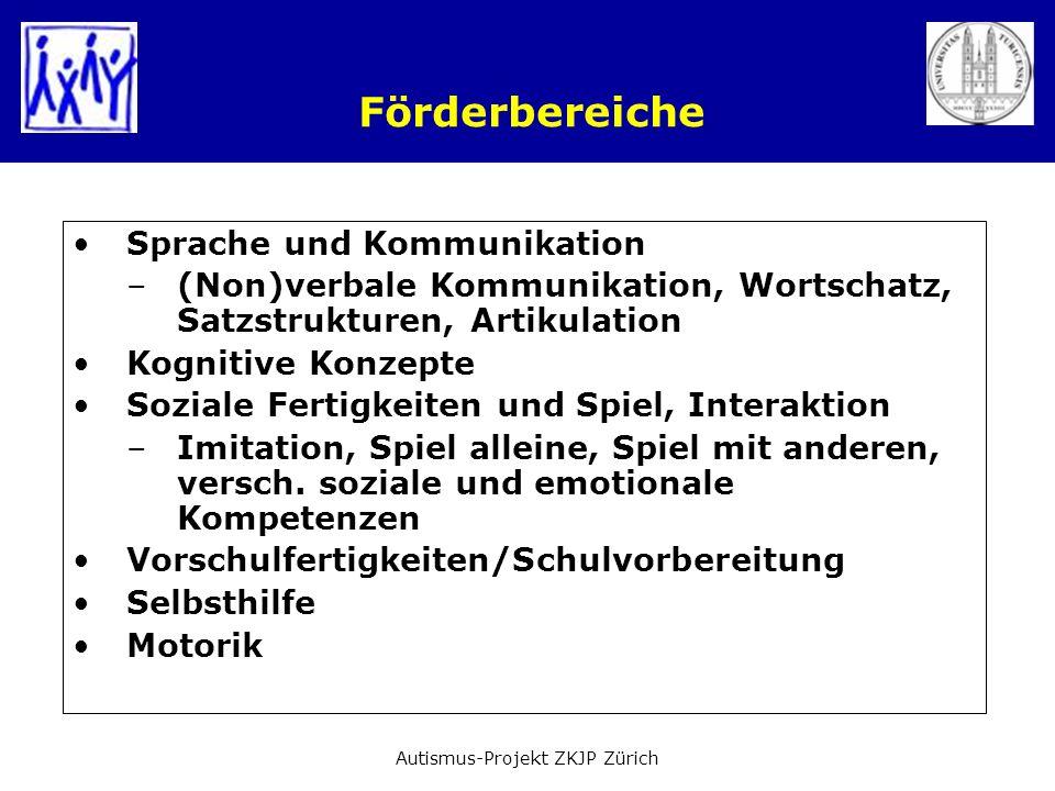 Förderbereiche Sprache und Kommunikation –(Non)verbale Kommunikation, Wortschatz, Satzstrukturen, Artikulation Kognitive Konzepte Soziale Fertigkeiten