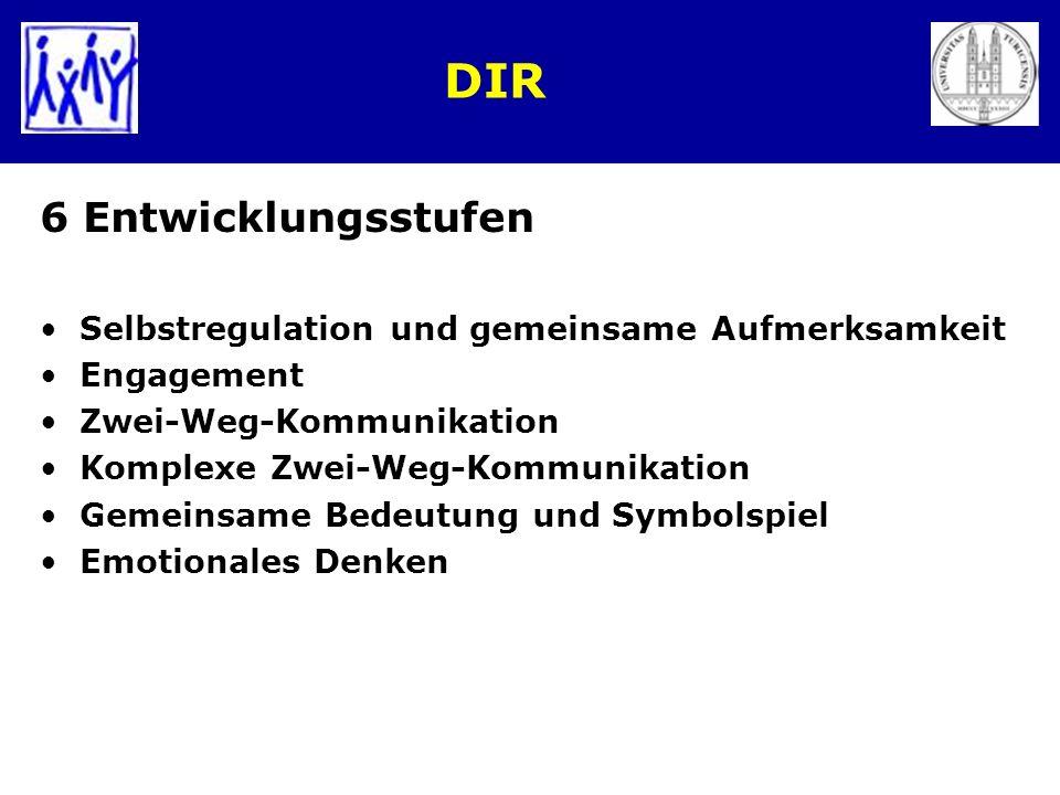 DIR 6 Entwicklungsstufen Selbstregulation und gemeinsame Aufmerksamkeit Engagement Zwei-Weg-Kommunikation Komplexe Zwei-Weg-Kommunikation Gemeinsame B
