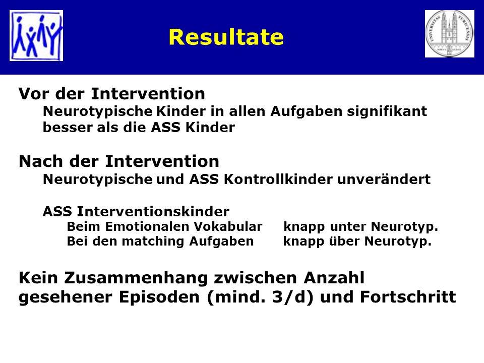 Resultate Vor der Intervention Neurotypische Kinder in allen Aufgaben signifikant besser als die ASS Kinder Nach der Intervention Neurotypische und AS