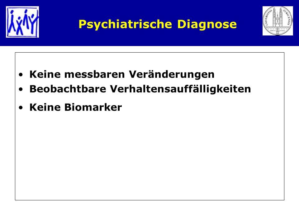 Psychiatrische Diagnose Keine messbaren Veränderungen Beobachtbare Verhaltensauffälligkeiten Keine Biomarker