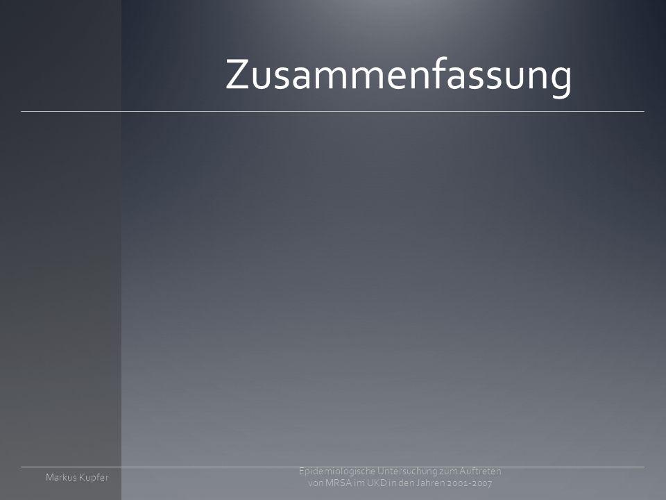 Markus Kupfer Epidemiologische Untersuchung zum Auftreten von MRSA im UKD in den Jahren 2001-2007
