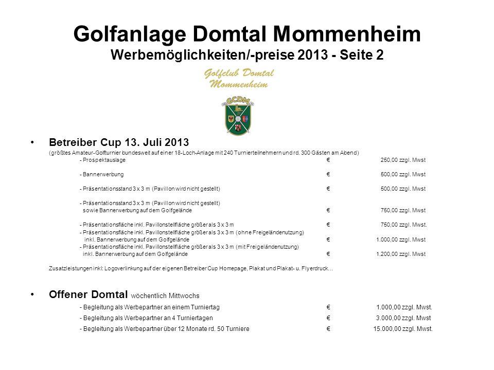 Golfanlage Domtal Mommenheim Werbemöglichkeiten/-preise 2013 - Seite 3 Diverse Drucksachen Anlagenprospekt Einsteiger-Informationseinleger Scorekarten Bleistifte etc.