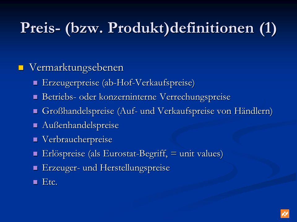 Preis- (bzw. Produkt)definitionen (1) Vermarktungsebenen Vermarktungsebenen Erzeugerpreise (ab-Hof-Verkaufspreise) Erzeugerpreise (ab-Hof-Verkaufsprei