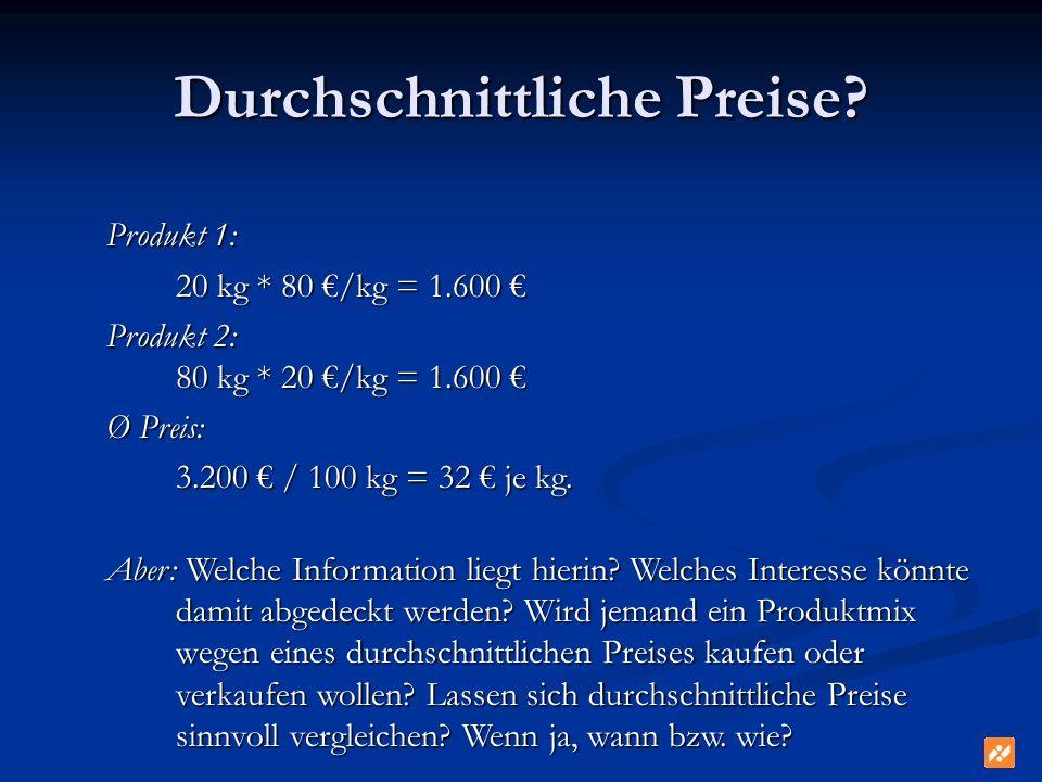 Durchschnittliche Preise? Produkt 1: 20 kg * 80 /kg = 1.600 20 kg * 80 /kg = 1.600 Produkt 2: 80 kg * 20 /kg = 1.600 Produkt 2: 80 kg * 20 /kg = 1.600