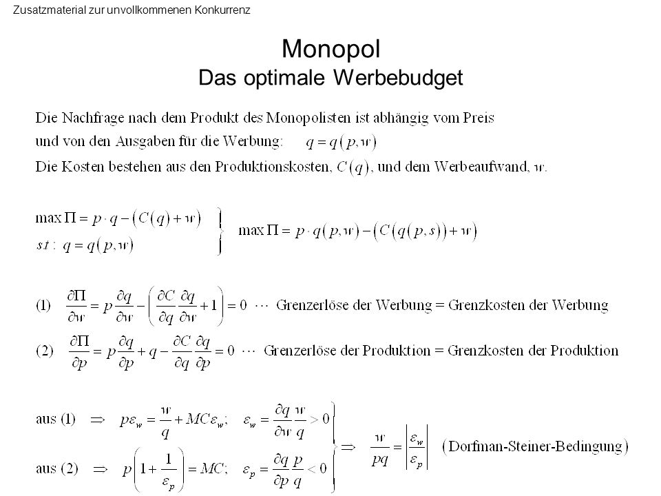 Monopol Das optimale Werbebudget Zusatzmaterial zur unvollkommenen Konkurrenz
