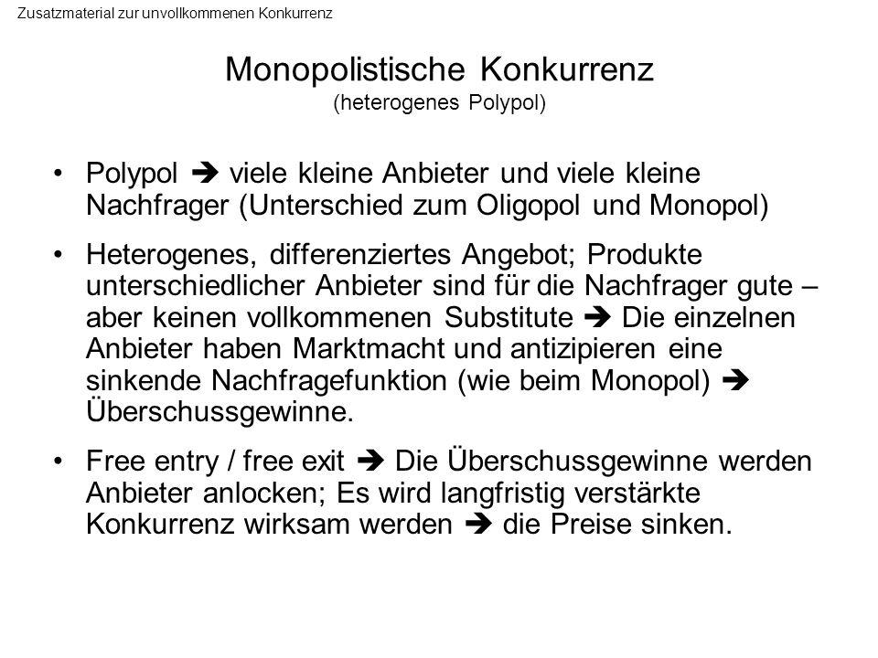 Monopolistische Konkurrenz (heterogenes Polypol) Polypol viele kleine Anbieter und viele kleine Nachfrager (Unterschied zum Oligopol und Monopol) Hete