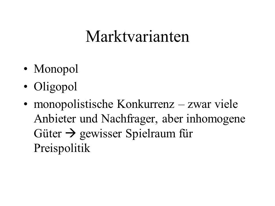 Marktvarianten Monopol Oligopol monopolistische Konkurrenz – zwar viele Anbieter und Nachfrager, aber inhomogene Güter gewisser Spielraum für Preispolitik