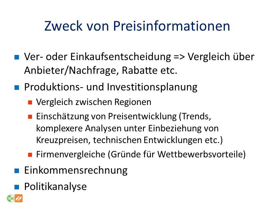 Zweck von Preisinformationen Ver- oder Einkaufsentscheidung => Vergleich über Anbieter/Nachfrage, Rabatte etc.