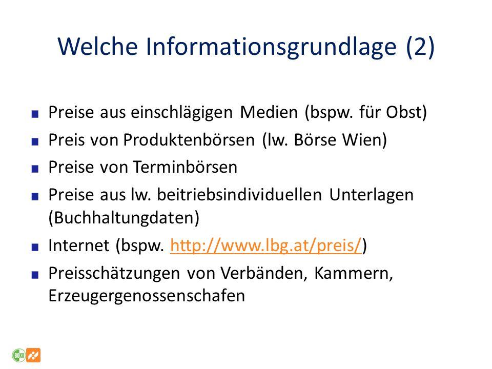 Welche Informationsgrundlage (2) Preise aus einschlägigen Medien (bspw.