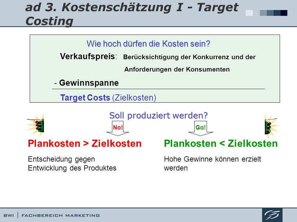 ad 3. Kostenschätzung I - Target Costing Wie hoch dürfen die Kosten sein? Verkaufspreis: Berücksichtigung der Konkurrenz und der Anforderungen der Kon