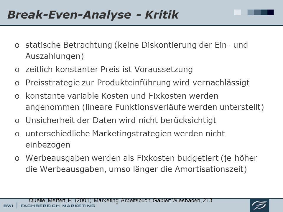 Break-Even-Analyse - Kritik ostatische Betrachtung (keine Diskontierung der Ein- und Auszahlungen) ozeitlich konstanter Preis ist Voraussetzung oPreis