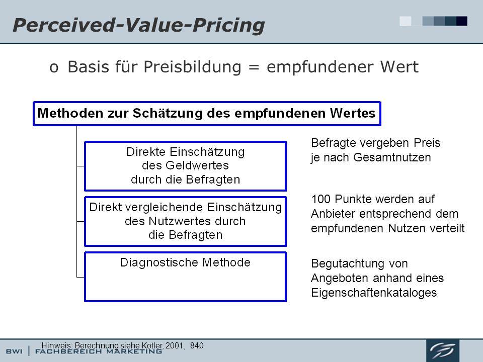 Perceived-Value-Pricing oBasis für Preisbildung = empfundener Wert Befragte vergeben Preis je nach Gesamtnutzen 100 Punkte werden auf Anbieter entspre