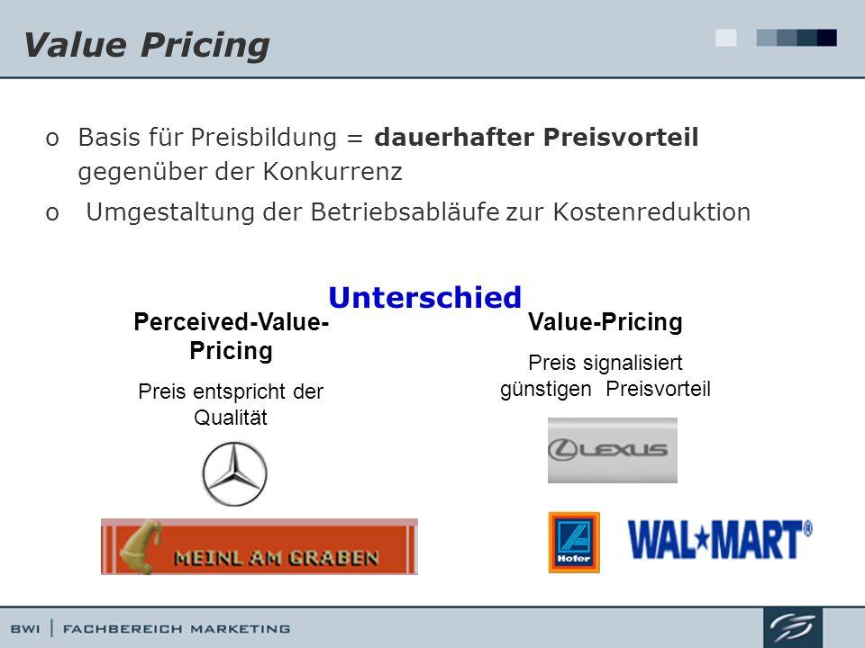 Value Pricing oBasis für Preisbildung = dauerhafter Preisvorteil gegenüber der Konkurrenz o Umgestaltung der Betriebsabläufe zur Kostenreduktion Unter
