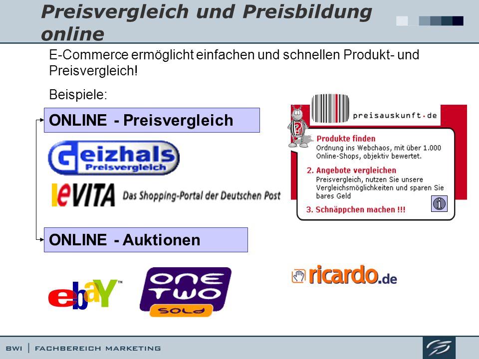 Preisvergleich und Preisbildung online ONLINE - Auktionen ONLINE - Preisvergleich E-Commerce ermöglicht einfachen und schnellen Produkt- und Preisverg