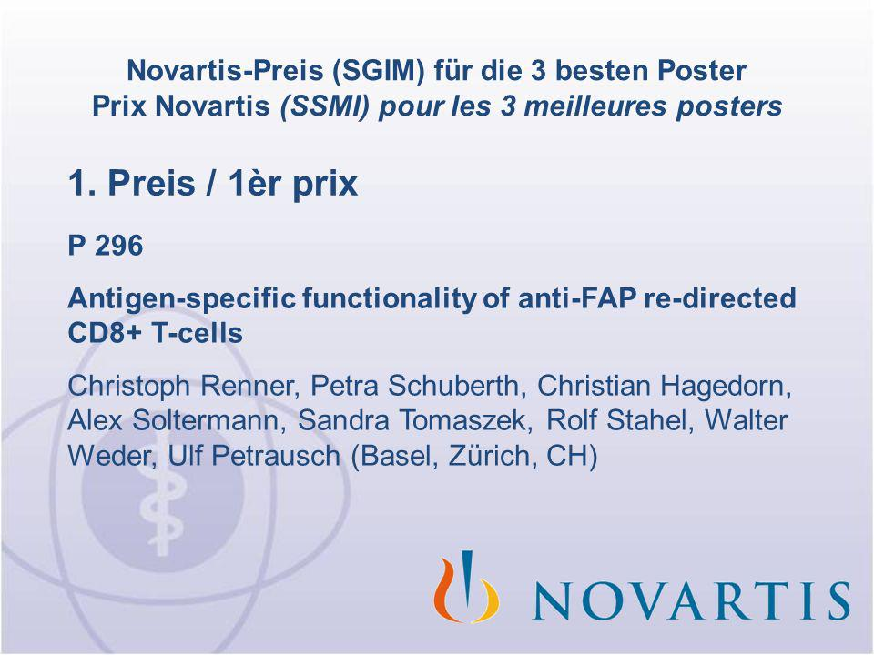 1. Preis / 1èr prix P 296 Antigen-specific functionality of anti-FAP re-directed CD8+ T-cells Christoph Renner, Petra Schuberth, Christian Hagedorn, A