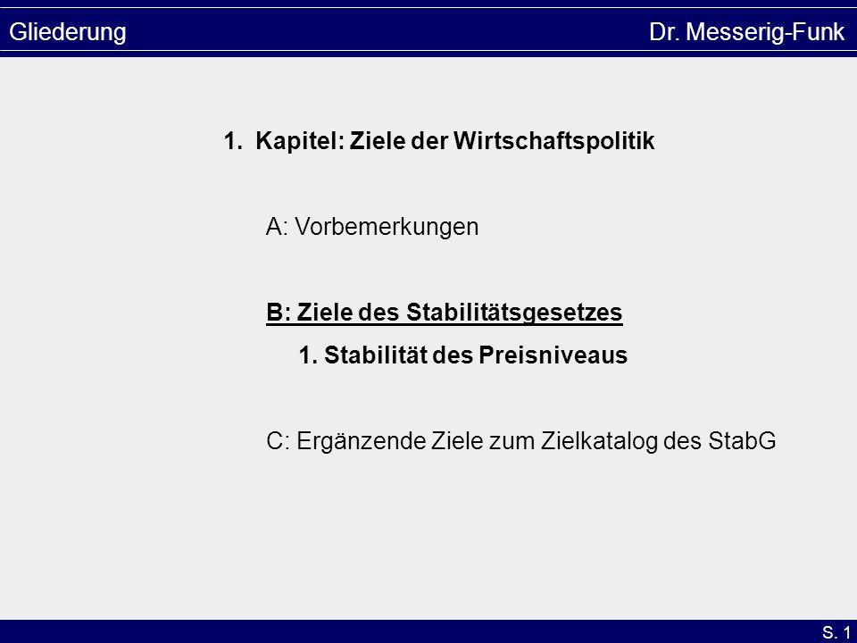S. 1 Gliederung Dr. Messerig-Funk 1.Kapitel: Ziele der Wirtschaftspolitik A: Vorbemerkungen B: Ziele des Stabilitätsgesetzes 1. Stabilität des Preisni