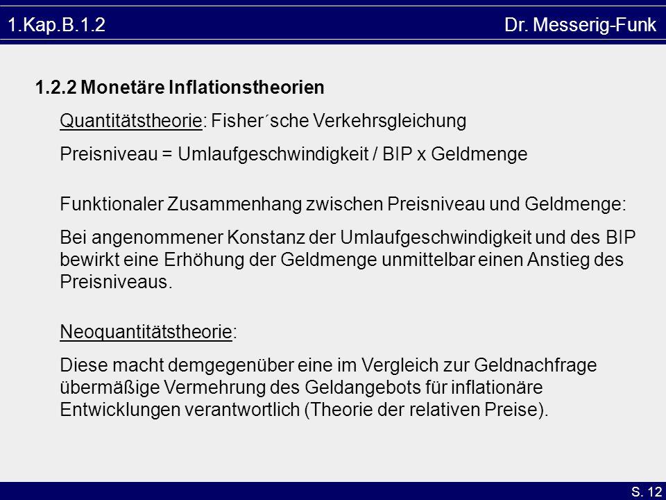 S. 12 1.Kap.B.1.2 Dr. Messerig-Funk 1.2.2 Monetäre Inflationstheorien Quantitätstheorie: Fisher´sche Verkehrsgleichung Preisniveau = Umlaufgeschwindig