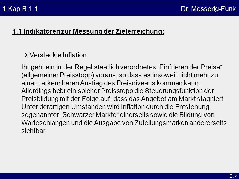S. 4 1.Kap.B.1.1 Dr. Messerig-Funk 1.1 Indikatoren zur Messung der Zielerreichung: Versteckte Inflation Ihr geht ein in der Regel staatlich verordnete