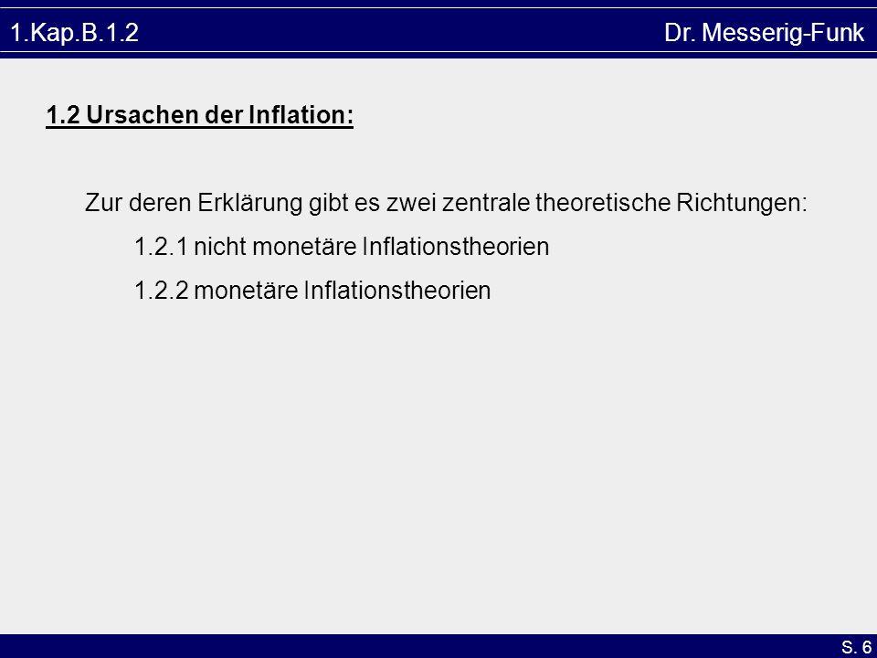 S. 6 1.Kap.B.1.2 Dr. Messerig-Funk 1.2 Ursachen der Inflation: Zur deren Erklärung gibt es zwei zentrale theoretische Richtungen: 1.2.1 nicht monetäre