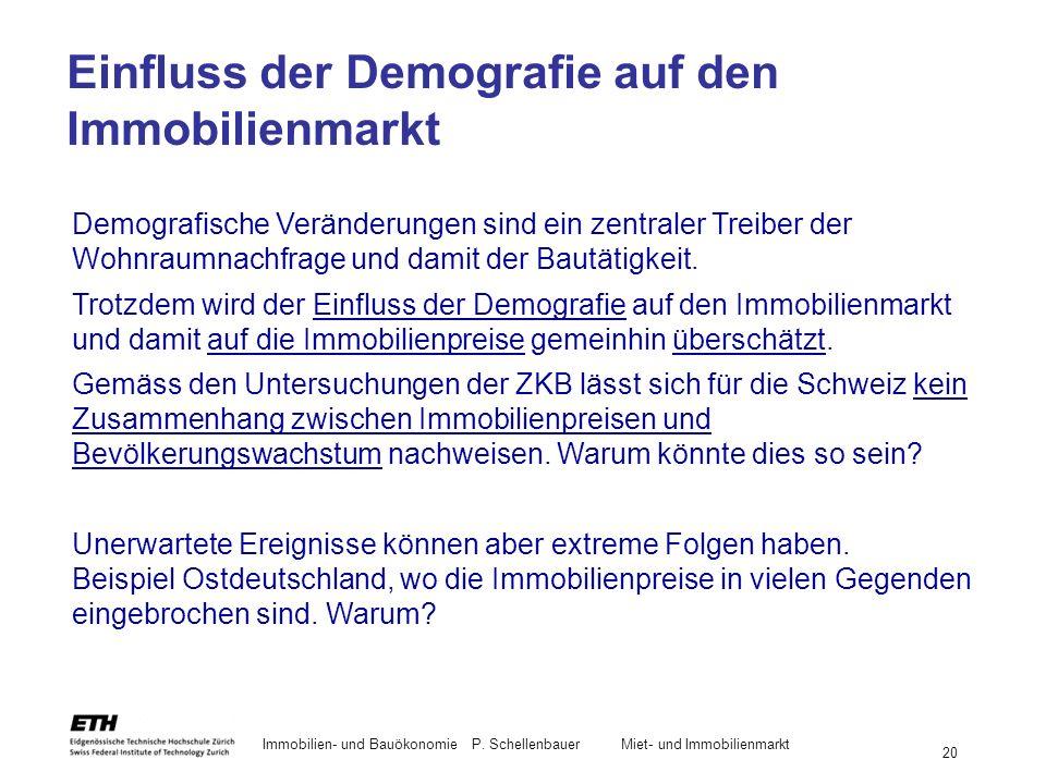 Immobilien- und BauökonomieP. Schellenbauer Miet- und Immobilienmarkt 20 Einfluss der Demografie auf den Immobilienmarkt Demografische Veränderungen s