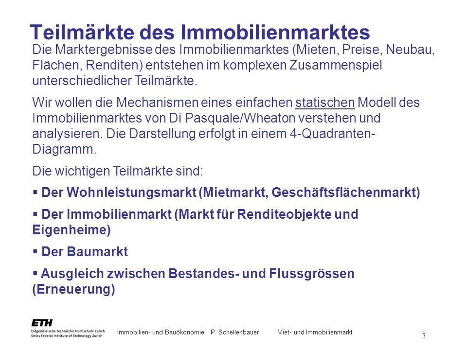 Immobilien- und BauökonomieP. Schellenbauer Miet- und Immobilienmarkt 3 Teilmärkte des Immobilienmarktes Die Marktergebnisse des Immobilienmarktes (Mi
