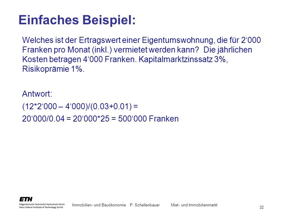 Immobilien- und BauökonomieP. Schellenbauer Miet- und Immobilienmarkt 32 Welches ist der Ertragswert einer Eigentumswohnung, die für 2000 Franken pro