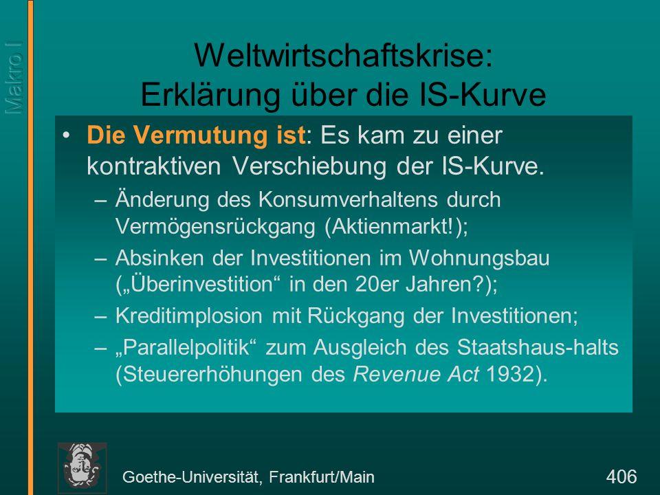 Goethe-Universität, Frankfurt/Main 406 Weltwirtschaftskrise: Erklärung über die IS-Kurve Die Vermutung ist: Es kam zu einer kontraktiven Verschiebung