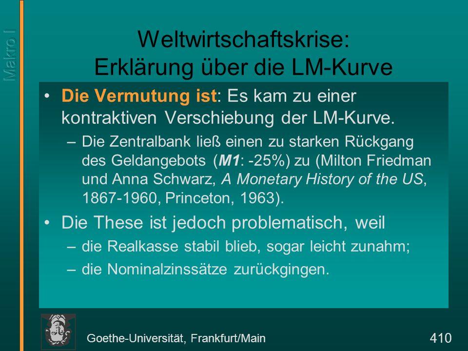 Goethe-Universität, Frankfurt/Main 410 Weltwirtschaftskrise: Erklärung über die LM-Kurve Die Vermutung ist: Es kam zu einer kontraktiven Verschiebung