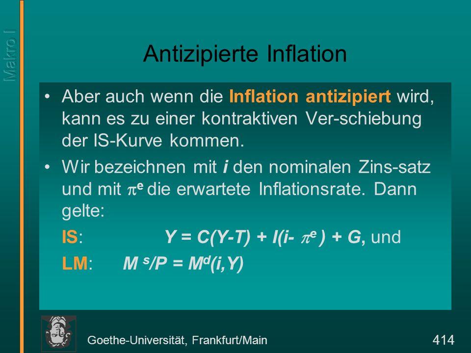 Goethe-Universität, Frankfurt/Main 414 Antizipierte Inflation Aber auch wenn die Inflation antizipiert wird, kann es zu einer kontraktiven Ver-schiebu