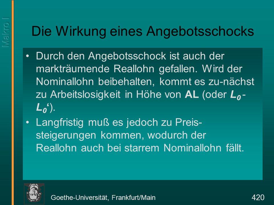Goethe-Universität, Frankfurt/Main 420 Die Wirkung eines Angebotsschocks Durch den Angebotsschock ist auch der markträumende Reallohn gefallen. Wird d
