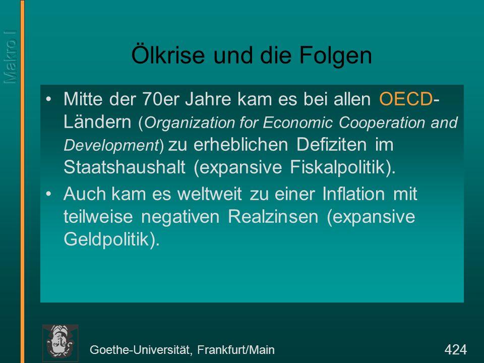 Goethe-Universität, Frankfurt/Main 424 Ölkrise und die Folgen Mitte der 70er Jahre kam es bei allen OECD- Ländern (Organization for Economic Cooperati