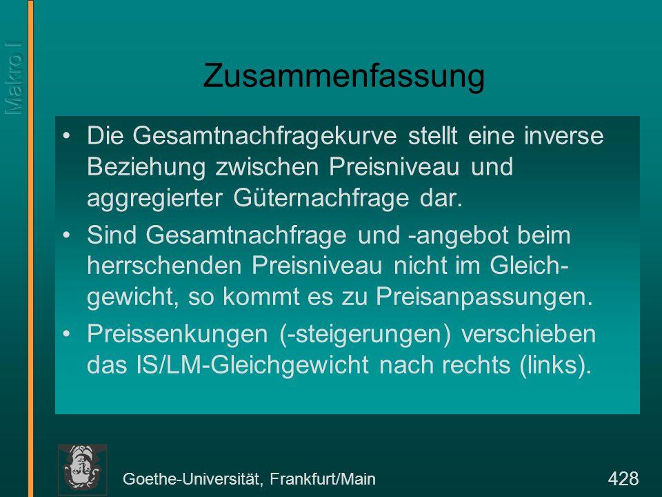 Goethe-Universität, Frankfurt/Main 428 Zusammenfassung Die Gesamtnachfragekurve stellt eine inverse Beziehung zwischen Preisniveau und aggregierter Gü