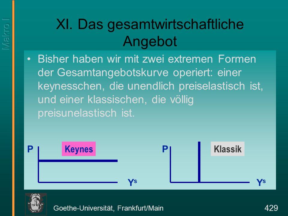 Goethe-Universität, Frankfurt/Main 429 XI. Das gesamtwirtschaftliche Angebot Bisher haben wir mit zwei extremen Formen der Gesamtangebotskurve operier