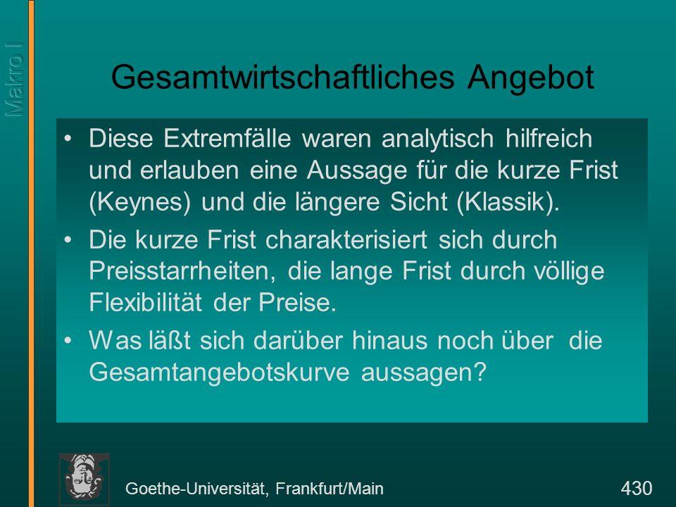 Goethe-Universität, Frankfurt/Main 430 Gesamtwirtschaftliches Angebot Diese Extremfälle waren analytisch hilfreich und erlauben eine Aussage für die k