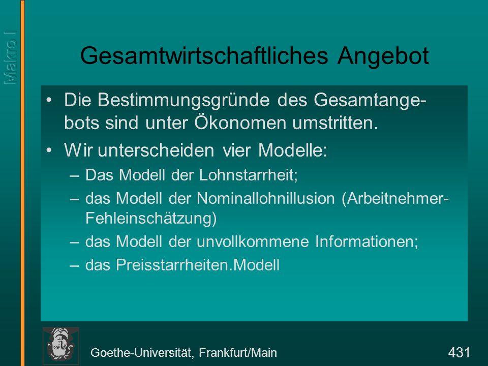 Goethe-Universität, Frankfurt/Main 431 Gesamtwirtschaftliches Angebot Die Bestimmungsgründe des Gesamtange- bots sind unter Ökonomen umstritten. Wir u